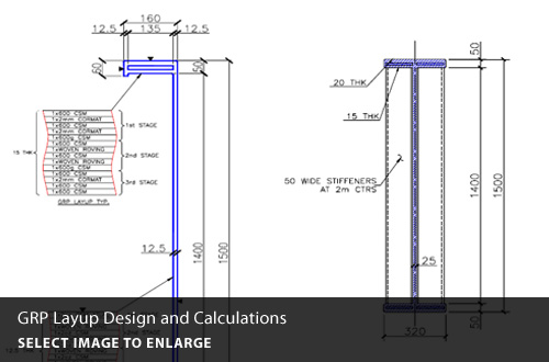 GRP layup design and calculations.