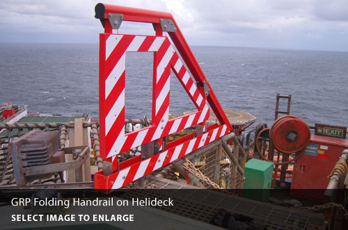 GRP folding handrail on helideck.