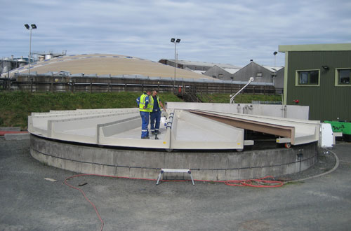 Installation of rotating GRP cover.